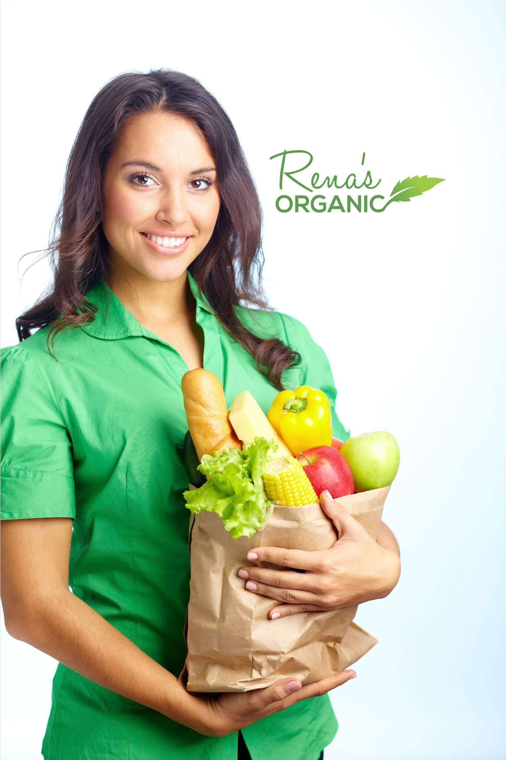 healthy girl holding groceries